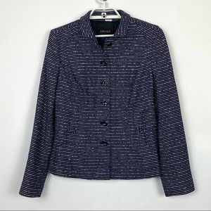 Carlisle Tweed Cotton Wool Blazer Navy Blue